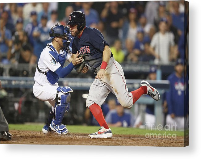 People Acrylic Print featuring the photograph Ian Kinsler, Cody Bellinger, And Austin Barnes by Ezra Shaw