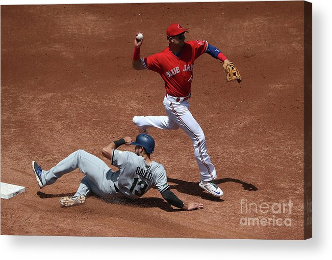 Double Play Acrylic Print featuring the photograph Joey Gallo And Troy Tulowitzki by Tom Szczerbowski