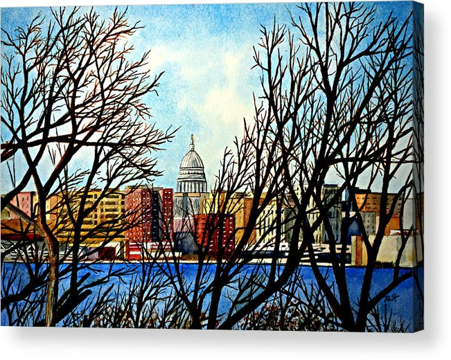 Wisconsin Acrylic Print featuring the painting Madison Treed by Thomas Kuchenbecker
