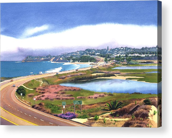 San Elijo Acrylic Print featuring the painting San Elijo And Hwy 101 by Mary Helmreich