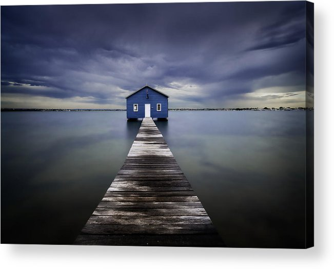 Water Acrylic Print featuring the photograph The Blue Boatshed by Leah Kennedy