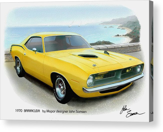 Automotive Fine Art Acrylic Print featuring the painting 1970 Barracuda Classic Cuda Plymouth Muscle Car Sketch Rendering by John Samsen
