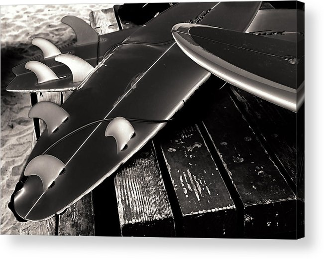 Fins And Boards Acrylic Print featuring the photograph Fins And Boards by Ron Regalado