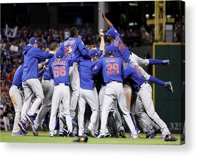 People Acrylic Print featuring the photograph World Series - Chicago Cubs V Cleveland by Ezra Shaw