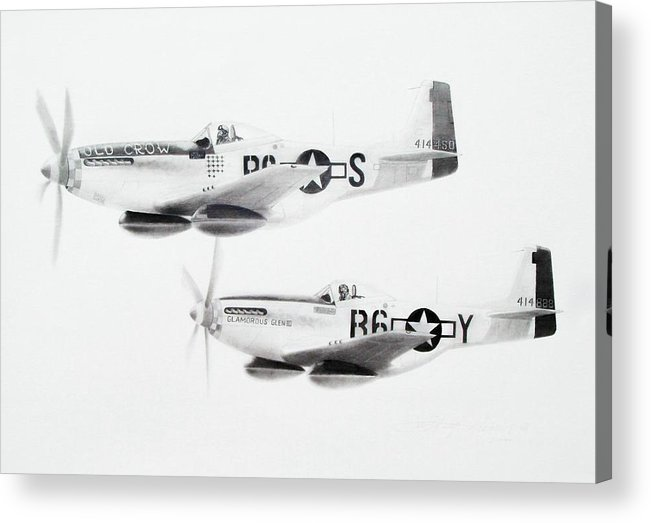 Aviation Art Acrylic Print featuring the drawing Anderson And Yeager by Scott Alcorn
