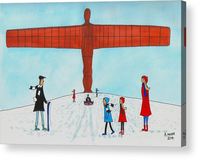 People Acrylic Print featuring the painting Angel Of The North by Andy Moore