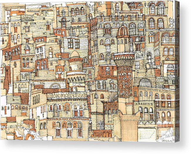 Detail Acrylic Print featuring the drawing Autumn Shaded Arabian Cityscape by Adendorff Design