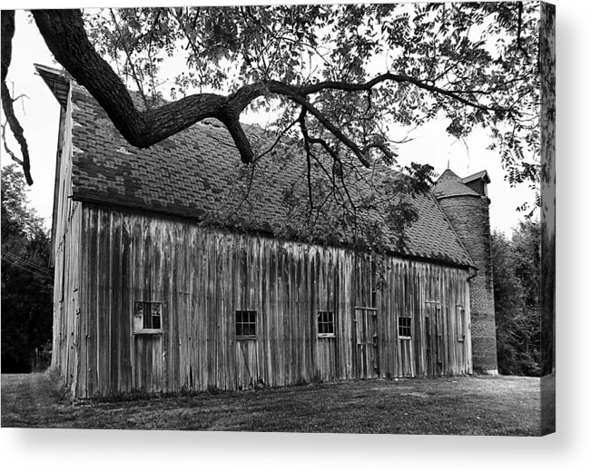 Old Barns Acrylic Print featuring the photograph Barn With Brick Silo In Black And White by Julie Dant
