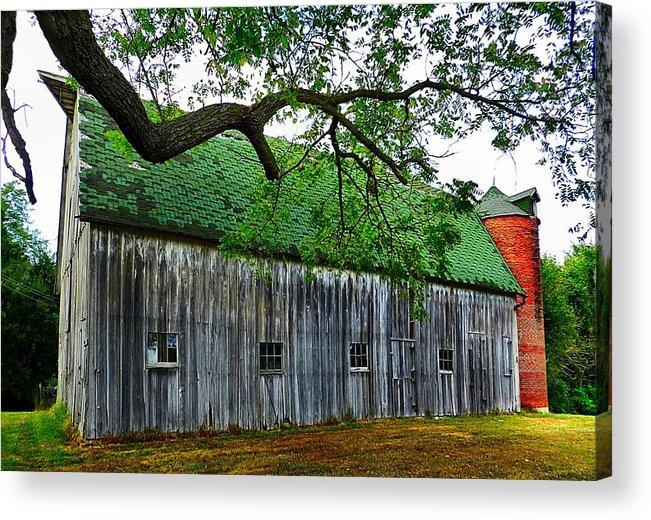 Old Barns Acrylic Print featuring the photograph Barn With Brick Silo by Julie Dant