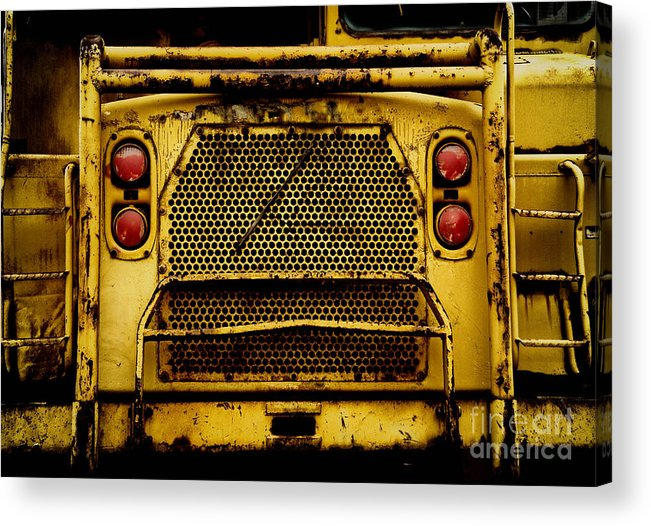 Bulldozer Acrylic Print featuring the photograph Big Dump Truck Grille by Amy Cicconi