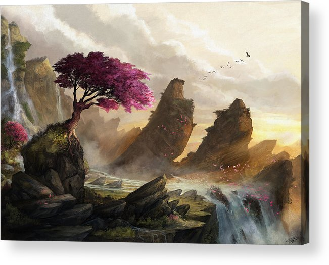 Cherry Blossom Acrylic Print featuring the digital art Blossom Sunset by Steve Goad