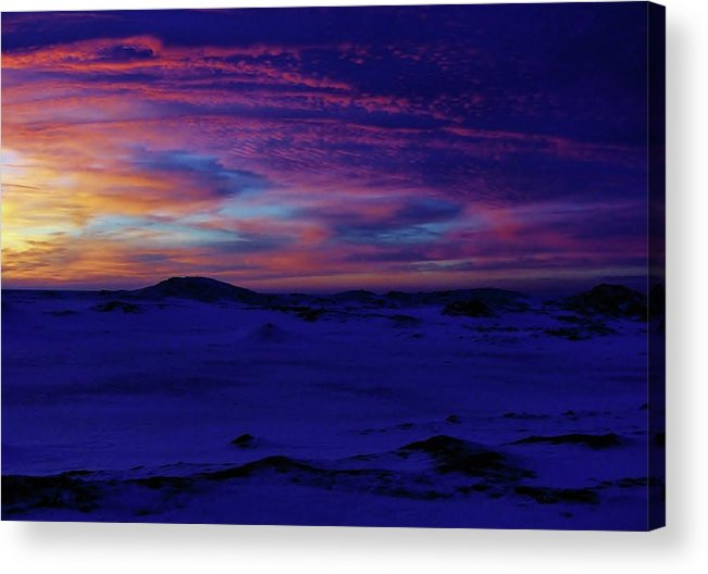 Frozen Blue Shoreline Sunset Acrylic Print featuring the photograph Blue Snow Sunset by Kathi Mirto