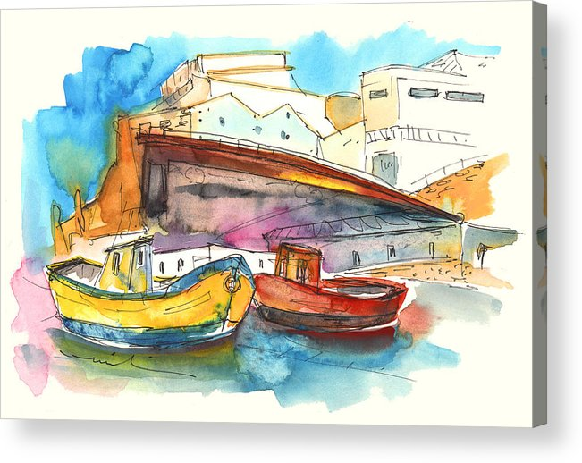 Portugal Art Acrylic Print featuring the painting Boats In Ericeira In Portugal by Miki De Goodaboom