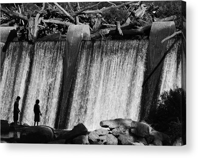 Falls Of The Ohio Acrylic Print featuring the photograph Boys Fishing by Chris Fender