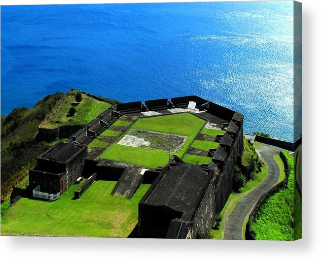 Brimstone Acrylic Print featuring the photograph Brimstone Fortress St Kitts by Ian MacDonald