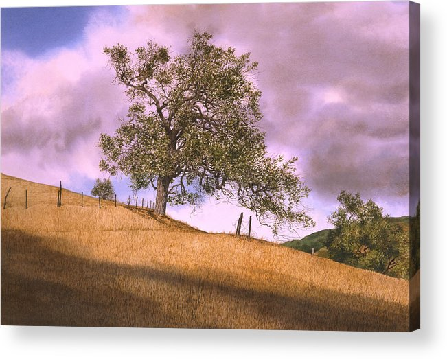 Landscape Acrylic Print featuring the painting By The Big Oak by Tom Wooldridge