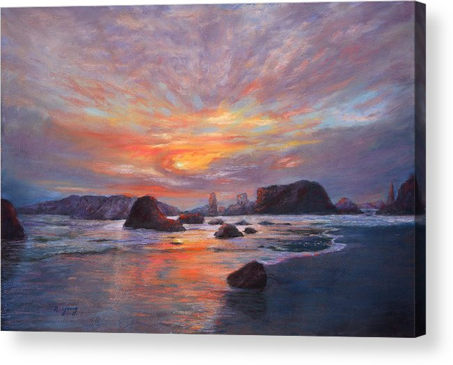 Seascape Acrylic Print featuring the pastel Coastal Sunset by Nancy Yang