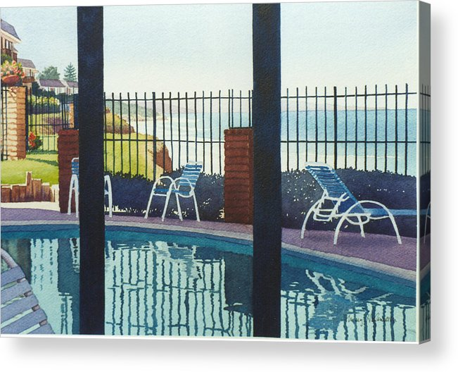 Coast Acrylic Print featuring the painting Coastal Swimming Pool by Mary Helmreich