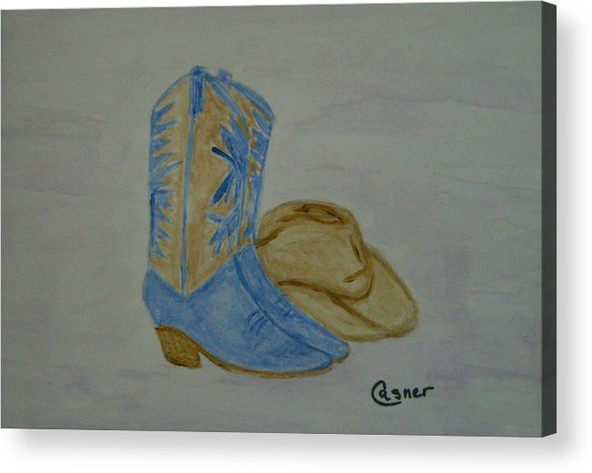 Cowboy Cowgirl Stetson Boots Cowboy Boots Ranch Range Southwest Az Ca Tx Ut Co Country Song Country Music Fiddle Acrylic Print featuring the painting Country Music by Colleen Casner