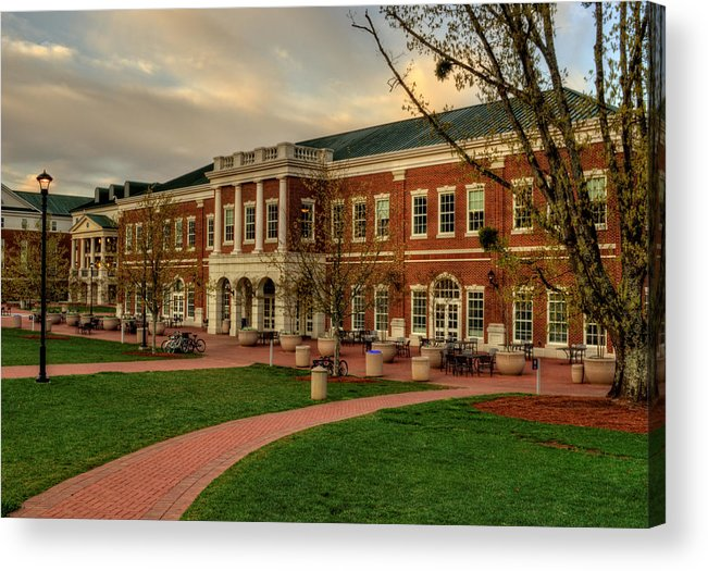 Western Carolina University Acrylic Print featuring the photograph Courtyard Dining Hall - Wcu by Greg and Chrystal Mimbs