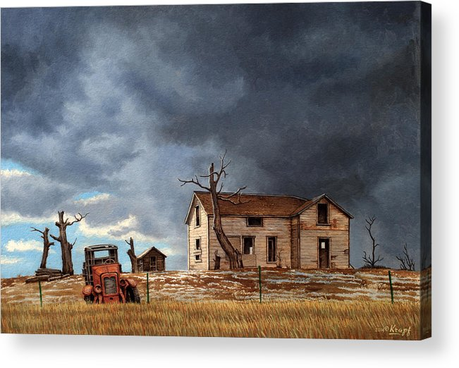 Montana Acrylic Print featuring the painting Different Day At The Homestead by Paul Krapf