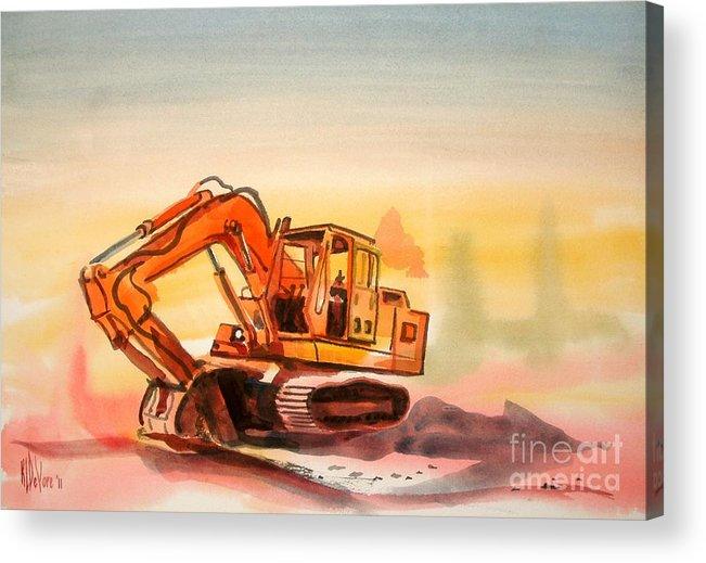 Dozer In Watercolor Acrylic Print featuring the painting Dozer In Watercolor by Kip DeVore