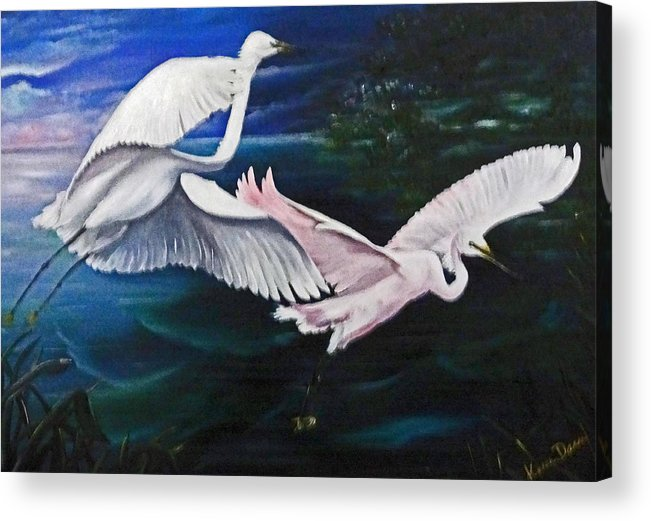 Snowy Egrets Acrylic Print featuring the painting Early Flight by Karin Dawn Kelshall- Best