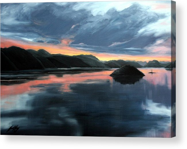 Sunrise Acrylic Print featuring the painting Farsund Sunrise by Janet King