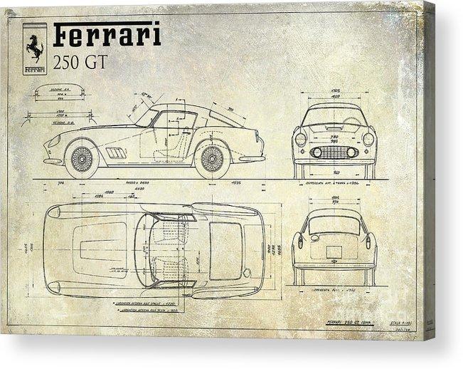 Ferrari 250 Gt Blueprint Acrylic Print featuring the drawing Ferrari 250 Gt Blueprint Antique by Jon Neidert