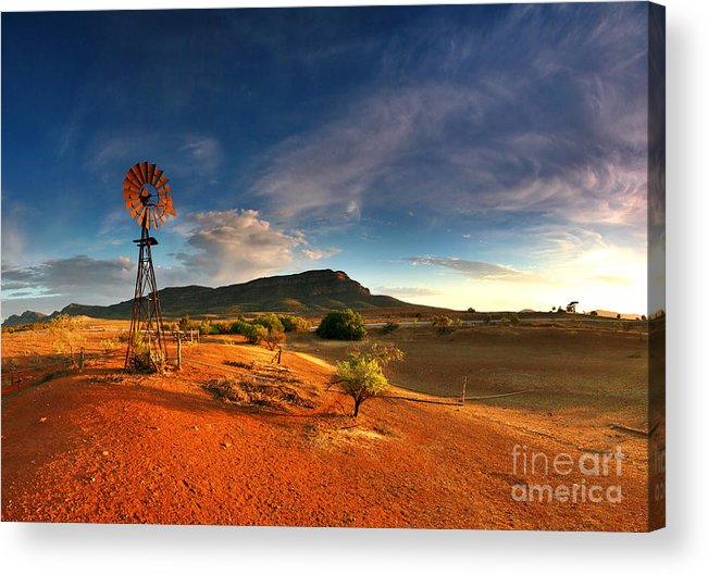 First Light Early Morning Windmill Dam Rawnsley Bluff Wilpena Pound Flinders Ranges South Australia Australian Landscape Landscapes Outback Red Earth Blue Sky Dry Arid Harsh Acrylic Print featuring the photograph First Light On Wilpena Pound by Bill Robinson