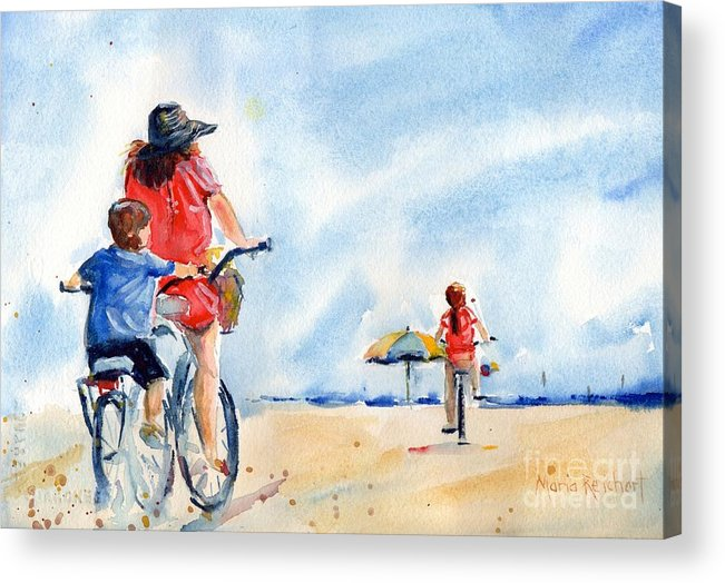Beach Watercolor Acrylic Print featuring the painting Following The Leader by Maria Reichert