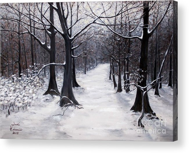 Winter Acrylic Print featuring the painting Forest Path In Winter by Judy Kirouac