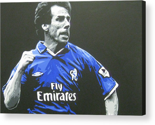 Gianfranco Zola Acrylic Print featuring the painting Gianfranco Zola - Chelsea Fc by Geo Thomson