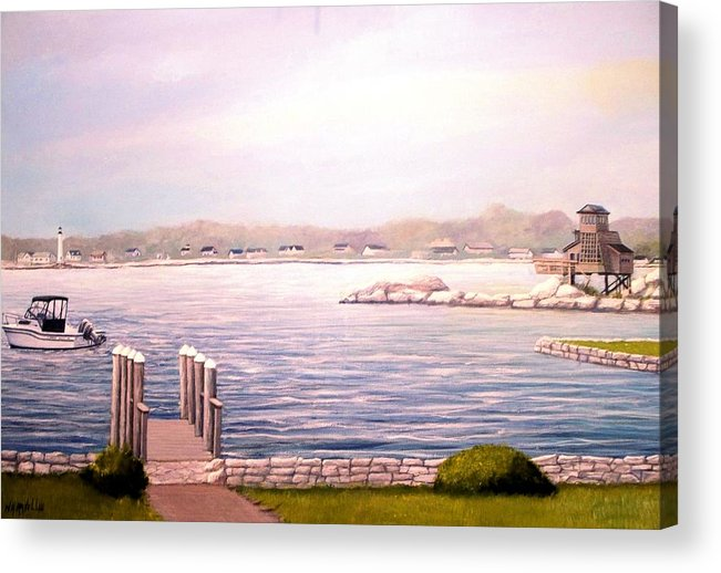 Seascape Acrylic Print featuring the painting Groton Long Point Ct by William H RaVell III