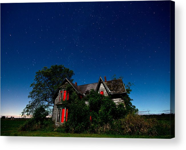Abandoned Acrylic Print featuring the photograph Haunted Farmhouse At Night by Cale Best