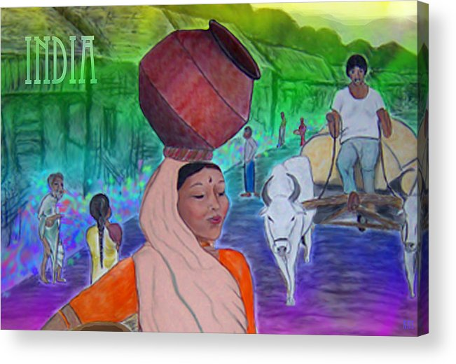 India Acrylic Print featuring the digital art India by Karen R Scoville