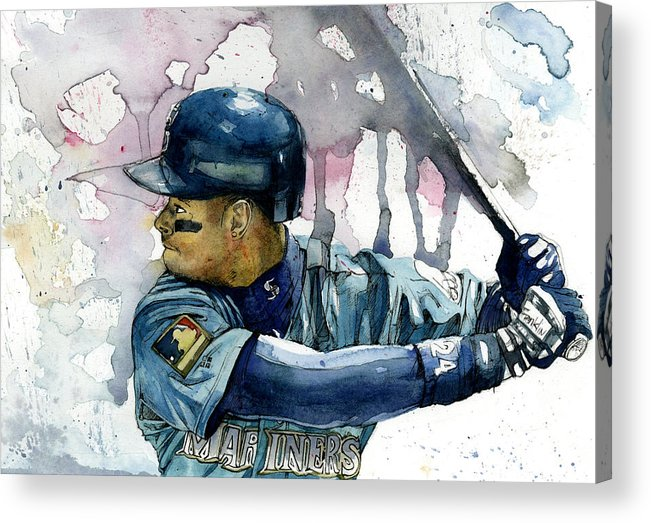 Ken Acrylic Print featuring the painting Ken Griffey Jr. by Michael Pattison