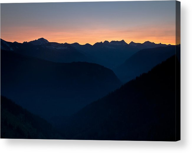 Canon 1ds Mk Ii Acrylic Print featuring the photograph Layered Mountains At Sunset by Craig Brown