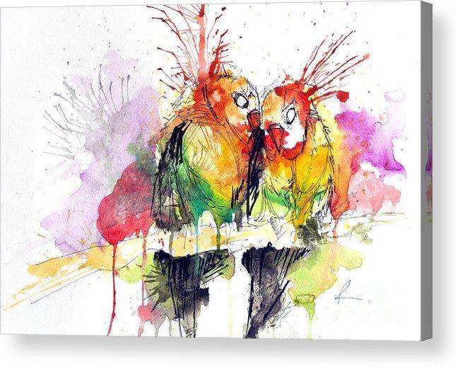 Love Acrylic Print featuring the painting Love Birds by Edgar Rafael