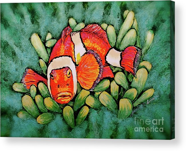 Fish Acrylic Print featuring the painting Mad Clown by Linda Simon