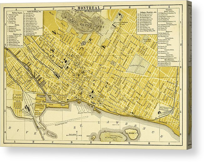 Map Of Montreal 1894 Acrylic Print by Thepalmer