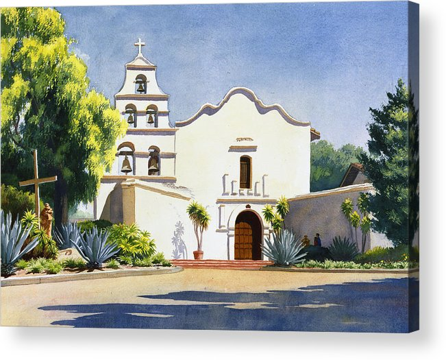 California Mission Acrylic Print featuring the painting Mission San Diego De Alcala by Mary Helmreich