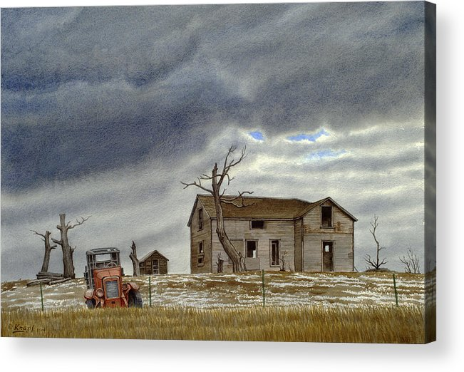 Abandoned House Acrylic Print featuring the painting Montana Abandoned Homestead by Paul Krapf