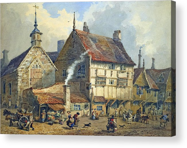 Old; Houses; House; St; Olaves; Church; Lower; Bridge; Street; Chester; Cheshire; Medieval; Architecture; Half-timbered; Half; Timbered; Daily; Life; Scene; Figure; Figures; Busy; Town; City; Shop; Shops; Commerce; Trade; Fruit And Vegetable; Stall; Fruit; Vegetable; Smoke; Smoking; Chimney; Anecdotal; Horse And Cart; Horse; Cart; English; British; Acrylic Print featuring the painting Old Houses And St Olaves Church by George Shepherd