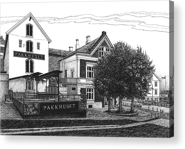 Pakkhuset Acrylic Print featuring the drawing Pakkhuset by Janet King
