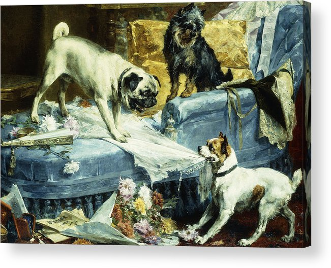 1890s Acrylic Print featuring the painting Playing Havoc by Charles van den Evcken