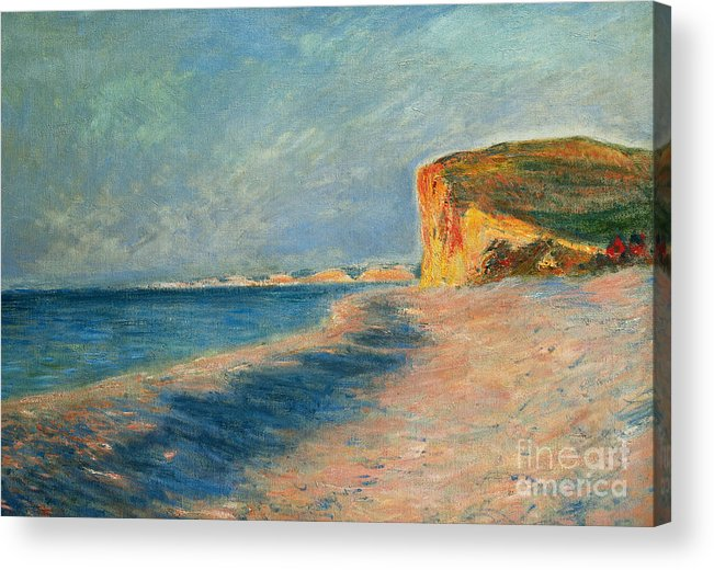 Outdoor; Outdoors; Outside; Painting; Peace; Peaceful; Perspective; Picturesque; Positive Concepts; Pourville; Pourville Pres De Dieppe; Quiet; Receding View; Rock; Sea; Seine Maritime; Shore; Shoreline; Sky; Still; Sun; Sunlight; Sunny; Tide; Time Of Day; Tranquil; Tranquility; Water; Waves Acrylic Print featuring the painting Pourville Near Dieppe by Claude Monet