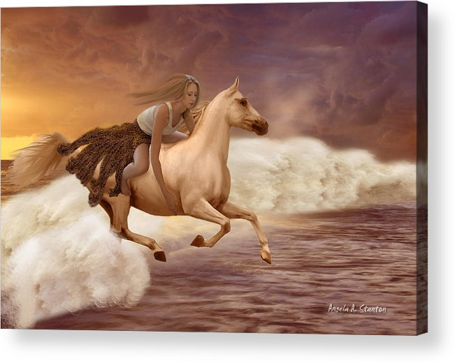 Girl Acrylic Print featuring the painting Romance In Her Dream by Angela Stanton