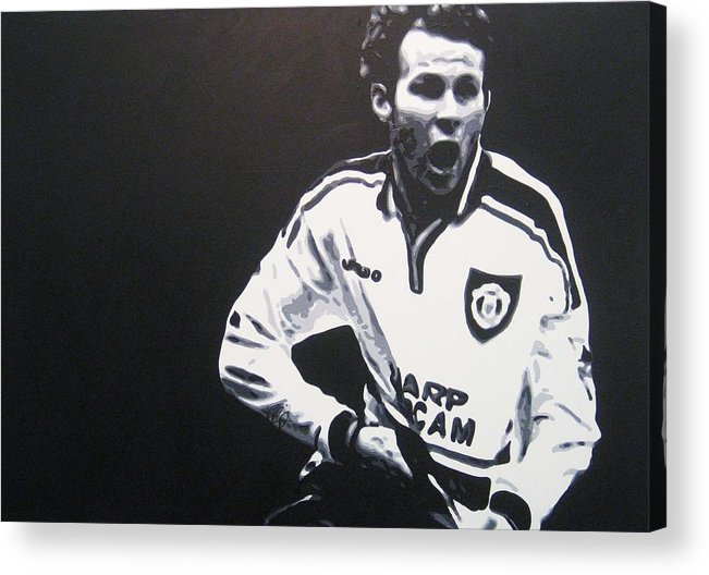 Ryan Giggs Acrylic Print featuring the painting Ryan Giggs - Manchester United Fc by Geo Thomson