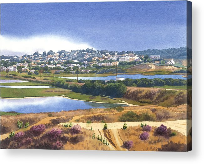 San Elijo Acrylic Print featuring the painting San Elijo And Manchester Ave by Mary Helmreich